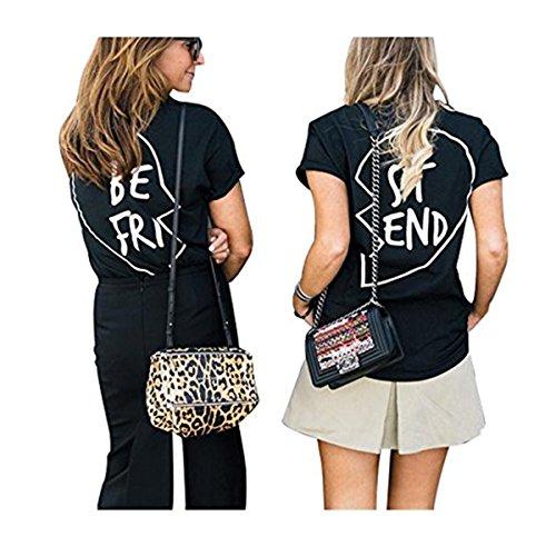 Ruiying Best Friends Sister T-Shirt mit Aufdruck Halb-Herz Für Zwei Damen Mädchen Sommer Weiß Schwarz Oberteil Geburtstagsgeschenk 1 Stücke (S, Schwarz ST) (Beste Freundin Frauen T-shirt)