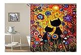 Bishilin Bad Vorhang für Badezimmer 2 Katze Multicolor Blumen Anti-Schimmel Duschvorhang 90x180