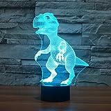 Dinosaures 3D Lampe LED optique Illusion, HAIYU 7farbwech Veilleuse avec Acrylique Flat & ABS Base & Chargeur USB Modifier toucher vous Botton Lampe de bureau Lampe de table