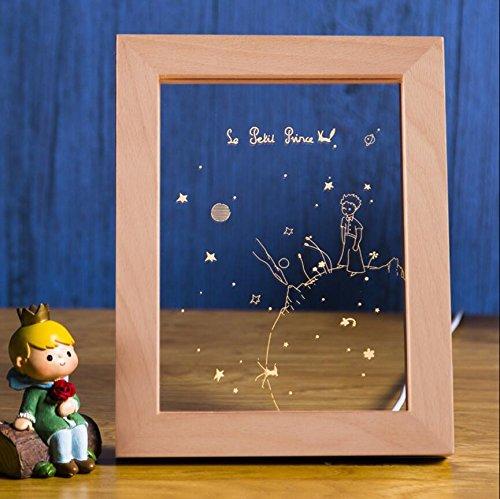HONGLINordische kreative Geburtstagsgeschenklampe, Fotorahmenlampe, der kleine Prinz, zum des Sonnenuntergangs LED Nachtlichtes, Weihnachtsgeschenke zu sehen, A