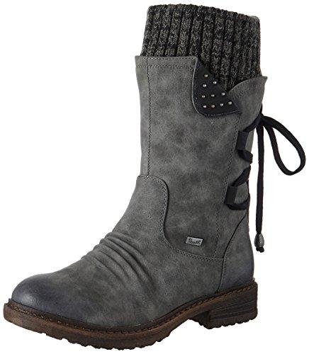 Rieker Damen 94773 Kurzschaft Stiefel, Grau (Smoke/Schwarz/Black-Grey 45), 40 EU