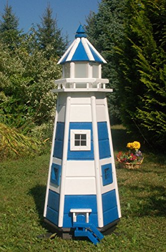 Deko-Shop-Hannusch Wunderschöner großer Leuchtturm aus Holz mit LED Beleuchtung 1,10m blau/weiß - Große Shop