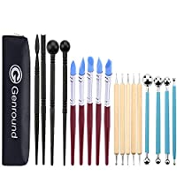 Polymer Clay Tools, Genround 19pc Modelling Clay & Pottery Clay Sculpting Tools, 5 Wooden Dotting Tools + 5 Rubber Clay Modelling Tools + 4 Ball Stylus Tool + 4 Plastic Pottery Tools Set + Storage Bag
