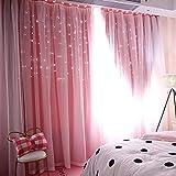Notdark Starry Sky Sheer Vorhang Tüll Fensterbehandlung Voile und Stoff Aushöhlen Gardine Vorhang für Schlafzimmer, Wohnzimmer (100 x 200 cm, Rosa)