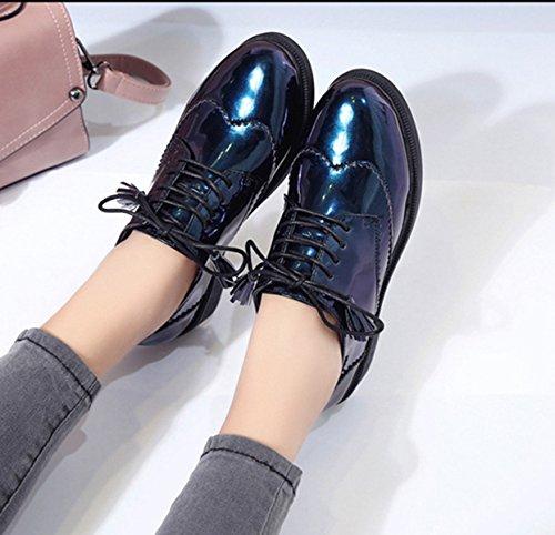 Senhoras Casuais Couro Azul Resistentes Sapatos Planalto Retro Redondos Halbschnürschuhe Macio Estilo Barroco Chique Deslizamento Dedos rxwAr4qp