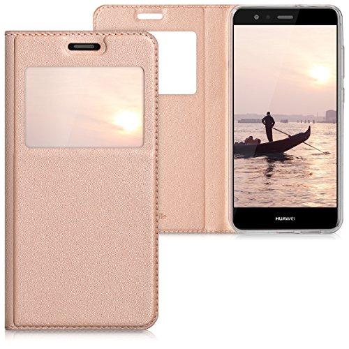 kwmobile Hülle für Huawei P10 Lite - Bookstyle Case Handy Schutzhülle Kunstleder mit Sichtfenster - Flipcover Klapphülle Rosegold