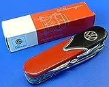 Trendagentur KEPPLINGER Taschenmesser VW Style Retro 10 Funktionen Bulli Volkswagen Klappmesser Funktionsmesser Multifunktionsmesser - ROT/Schwarz