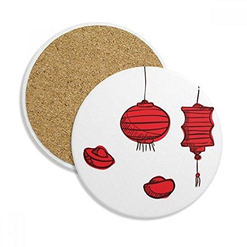 Rot Laternen Chinesische Jahr der The Rooster Stein Drink Keramik Untersetzer für Tasse Geschenk 2