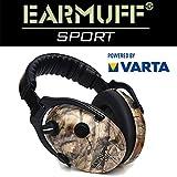 Schützen Sport-/Jagd Gehörschutz 24dB EARMUFF elektronischer AKTIV Gehörschutz Kopfhörer + Batterien (CAMO)