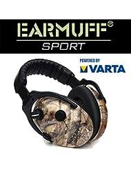 Schützen Sport-/Jagd Gehörschutz 24dB EARMUFF elektronischer AKTIV Gehörschutz Kopfhörer + VARTA Batterien