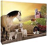 JP London cnv2006Galerie Wrap schwerem Barnyard Bauernhof ANIMAL FRIENDS Schaf und Traktor Kunstdruck auf Leinwand Wand Decor, 1,5