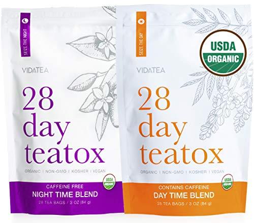 Vida Essentials Tag und Nacht Detox Tee - Teatox (56 Teebeutel) - Bio-Antioxidant Gewichtsverlust Tee, Kräuter Body Detox Cleanse