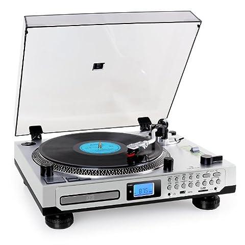 Auna TT-1200 Schallplattenspieler moderner Plattenspieler zum digitalisieren (USB-SD-Slot, MP3-CD-Player, Kassettendeck, UKW-Radio, Fernbedienung) silber