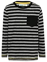 M&Co Boys Long Sleeve Stripe Pull On Chest Pocket Cotton Rich Everyday T-Shirt Grey 5/6 Yr