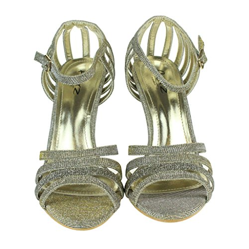 Femmes Dames Sparkly Soir Mariage Fête Bal de promo De mariée Haute Talon Sangle de cheville Des sandales Chaussures Taille Étain