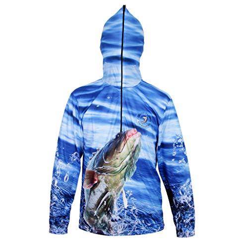 Sharplace Camisa con Capucha Sudadera Protección Solar UPF 50 + Ultra-Ligero Pesca Ropa - Azul, METRO
