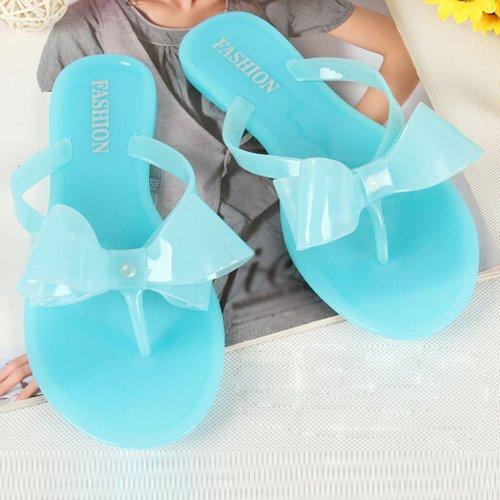 TOOGOO(R) Sandali femminili delle donne di modo della spiaggia di modo della piattaforma dell'arco della piattaforma degli alti pattini della spiaggia pattini flip femminili dimensioni 6 beige Blu