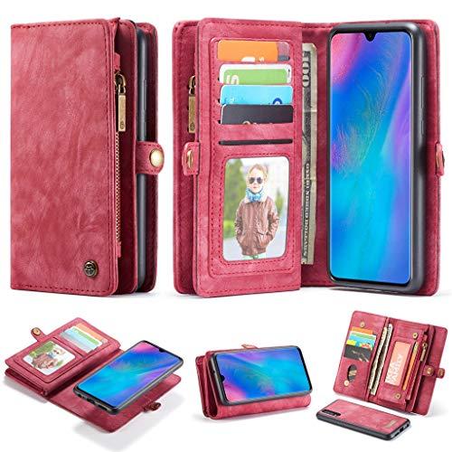 Für Huawei P30 6,1 Zoll Magnetisch Adsorption Metall Stoßstange Glas Fall Abdeckung Entfernen Sie 2 in 1 11 Steckplätze Brieftasche Leder Reißverschluss Ledertasche Handyhülle