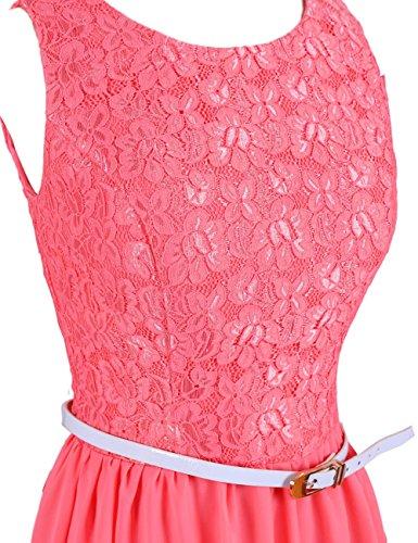 Dressystar Robe femme, Robe de soirée/de bal courte,avec une ceinture,en Dentelle,Mousseline Orange