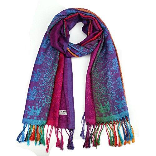 LCLrute Mit Seiten versehener Elefant-Nationaler Wind-Schal-Verpackungs-Schal Damenschal Halstuch Mega Auswahl Viele Farben (Lila)