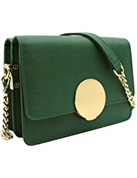 Wozeah Women Genuine Leather Elegant Clutch With Chain Shoulder Strap Crossbody Bag And The Shoulder Bag Can Two...