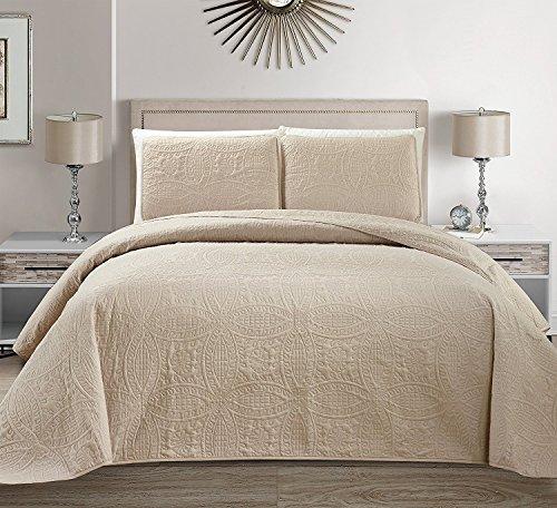 Linen Plus Tagesdecke für King-Size-Bett/Kalifornien, 3-teilig, geprägt, Beige -
