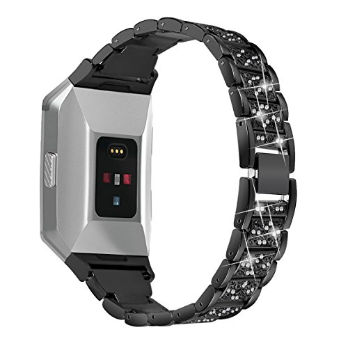 Für Fitbit Ionic Träger, angolf Fitbit Ionic Edelstahl Strass Band Bling Glitzer Smart Watch verstellbar Ersatz Band Armband Armband Schnalle Schließe für Fitbit Ionic Fitness Zubehör (Fitbit Band Xl)