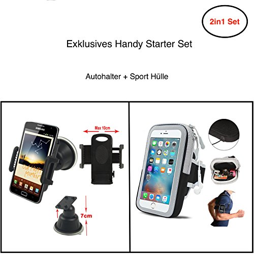 Starterset für - Alcatel Idol 5 Cricket  - Sport Arm Band hülle + AutoHalter Halterung - Handy Set 3 (Cricket Armee)