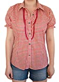 MS-Trachten Damen Trachten Bluse Damenbluse Dirndlbluse Sophia (40, rot-kariert)
