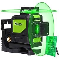 Nivel láser profesional semi nivelador - Huepar 902CG Líneas transversales de haz verde Cobertura láser de 360 grados Línea horizontal y línea vertical que vienen con base pivotante magnética, modos de pulso que permiten el uso con láser