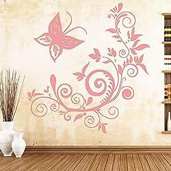 Cute Butterfly Art Sticker Etiquetas de pared impermeables para sala de estar Habitación de niños Decoración de pared Murales Rosa 43cm X 45cm