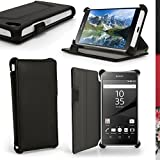 igadgitz Premium Folio Noir Cuir PU Etui Housse Case Cover pour Sony Xperia Z5 Compact E5803 E5823 avec Support Multi-Angles + Film de Protection