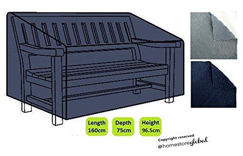 HomeStore Global groß Schutzhülle für Gartenbank (mit Rechten Armlehnen) - Dicke & Hochwertiges strapazierfähiges 600D Polyester Canvas mit Doppel genähte Nähte für extra Stärke, All-Wetter-beständig und anti-Feuchtigkeit, Maße ca.: (L) 160 x (D) 75 x (H) 63.5/96.5cm - Holzkohle