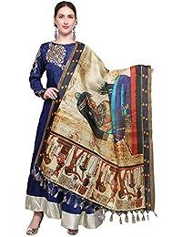 Mrinalika Fashion Cotton Silk Digital Print Dupatta (Beige_Free Size)