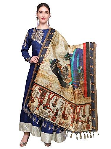 Mrinalika Fashion Cotton Silk Digital Print Dupatta (Dupattas For Womens_Salwar Suit Dgdpt11_Beige_Free...