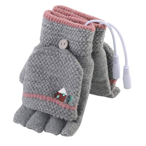 Nosii 1 Paar (2 STÜCKE) Winter Warm USB Handschuhe Beheizt Fingerlose Heizung Stricken Hände Wärmer Handschuh Waschbar Design - Herren- & Damengröße Optional (Color : Light Gray) -