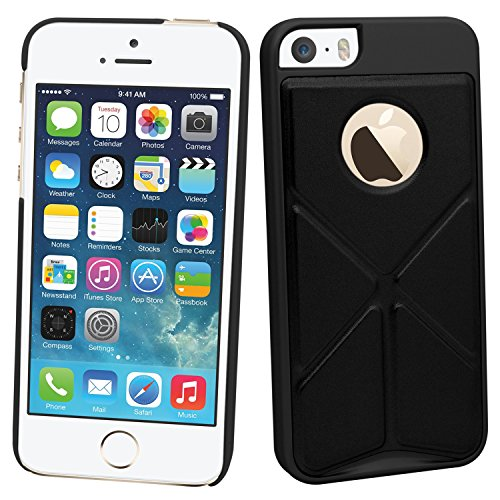 Samrick Multi-funktionale Origami Faltung Ständer Schutzhülle für Apple iPhone 5/5S silber schwarz