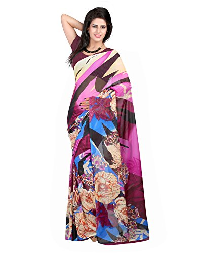 Georgette Fabric Violet Beige Magenta Colour Casual Wear Floral Print Saree With Georgette Violet Un Stitch Blouse  available at amazon for Rs.341