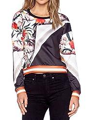 Mode Feminine Flora Imprime Manches Longues En Vrac Sweatershirt Haut Jesery Blouse