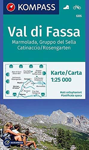 Carta escursionistica n. 686. Val di Fassa, Marmolada, Gruppo di Sella, 1:25.000: Wanderkarte mit Radtouren. GPS-genau. 1:25000
