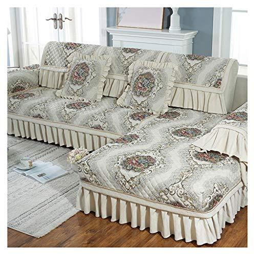 LRXG Sofa Überwurf, europäischer Chenille-Stoff Beige Winter Plus Samtverdickung Rutschhemmend Atmungsaktiv Gesteppter Sofa Schutz Abdeckung (größe : 80 * 210cm(31.49 * 82.67in)) -