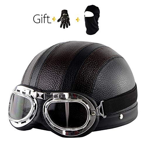 Mode Harley Motorradhelm, Roller Vier Jahreszeiten Halbhelm Männer und Frauen mit Sonnenblende/Brille/Maske/Handschuhe (Schwarz und Weiß)