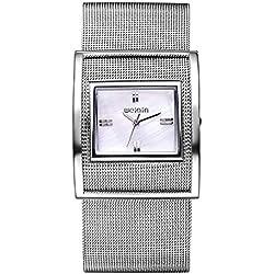 Kreativ Gitter Kette Band Eckig Quarzuhr Armbanduhr Für Damen, Silber