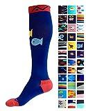 A-Swift Kompressions-Socken, Verlaufsfilter, sportliche Passform, für Laufsport/Krankenschwestern/Flugreisen/Skifahren/Mutterschaft/Schwangerschaft/Krampfadern/ für mehr Ausdauer und eine schnelle Erholung, 1 Paar, Deep Sea, L-XL