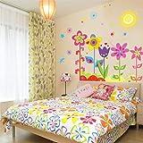 Chasiroma Wandaufkleber mit Blumen und Schmetterlingen, abnehmbar, für Wohnzimmer, TV,...