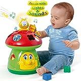 Unbekannt Baby Motorik Spielzeug Pilzhaus mit Licht, Sound und Steckformen Steckspiel - Formen Sortier Spiel Lernspiel mit Licht Sound