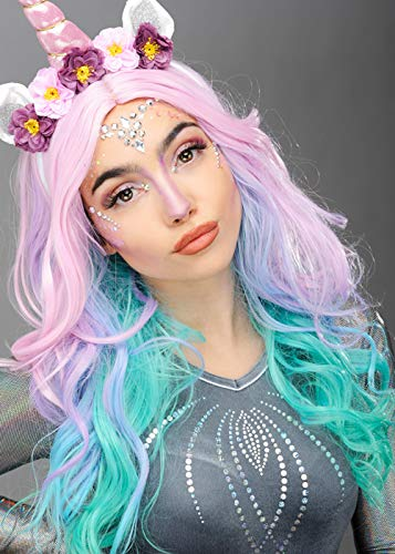 Magic Box Int. Womens Pastell Rainbow Unicorn Perücke