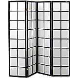 Pantalla de madera y papel de arroz con 4 puertas. Modelo Yoko. Color negro