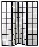 Cinius Pantalla de madera y papel de arroz con 4 puertas. Modelo Yoko. Color negro