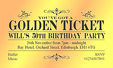 50 BIRTHDAY INVITATIONS Personalised for You. MAGNETIC Golden Ticket Invites for 18th 21st 30th 40th 50th 60th 70th... Birthday Party Invitations. Adult Party Invites with Free Envelopes.
